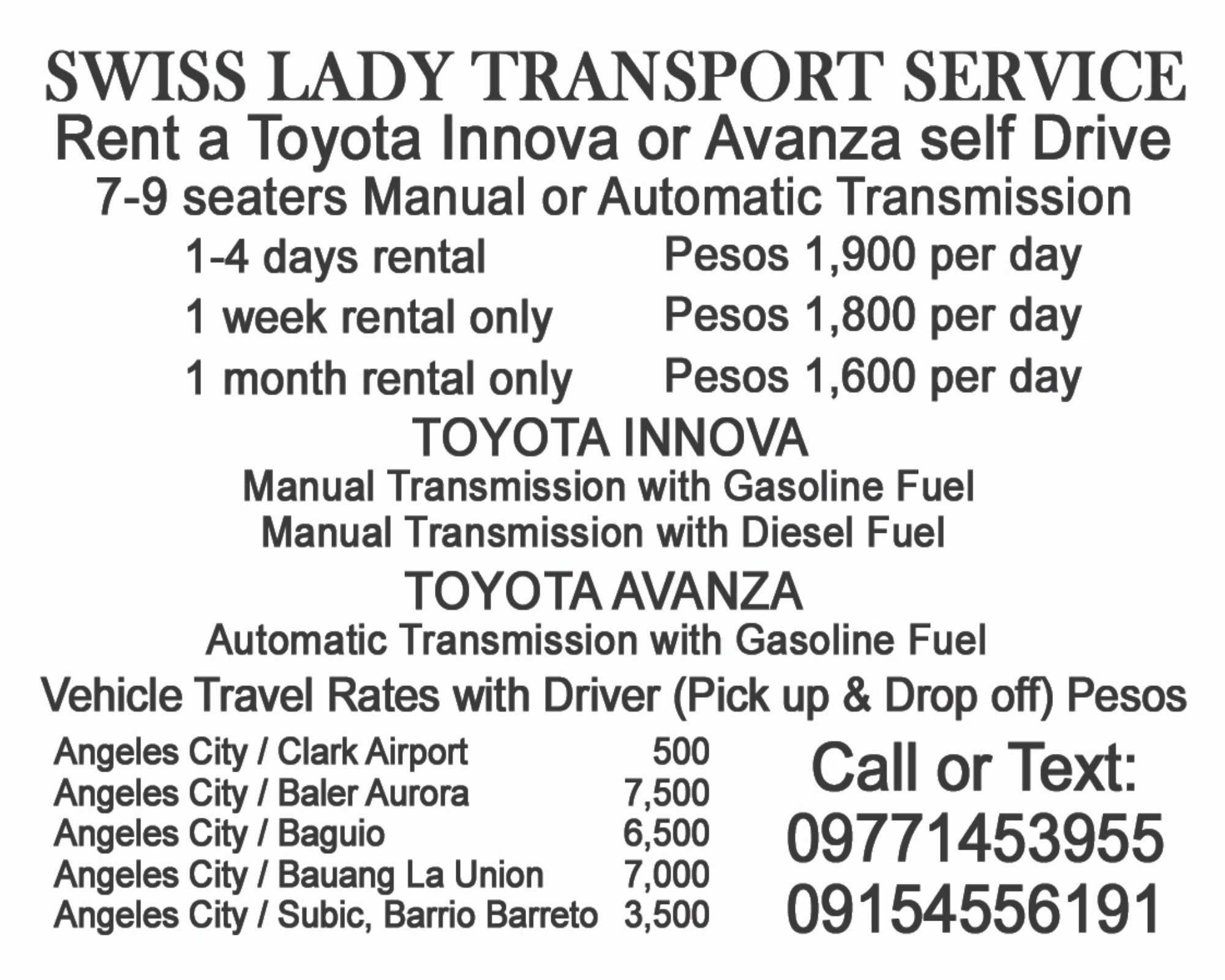 Swiss Lady Transport Service